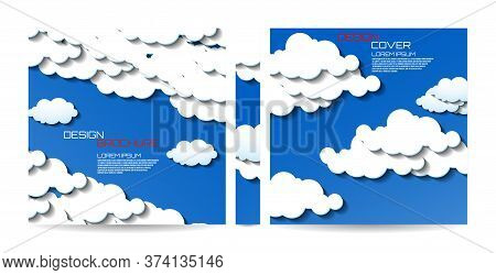 Brochure Template With Clouds. Magazine, Poster, Book, Presentation, Advertising. Abstract Vector Ba