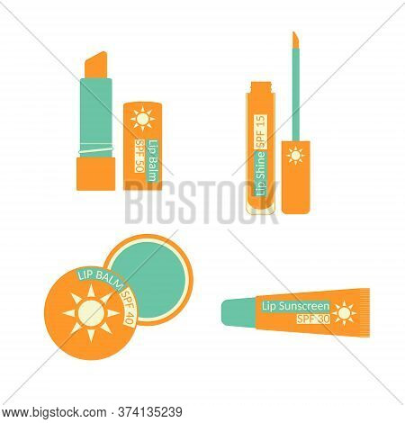 Set Of Lip Treatment With Sun Protection. Sunscreen For Lips. Balm, Lipstick, Shine, Butterstick. Pa