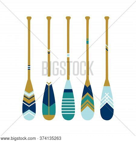 Painted Wooden Canoe Oar. Modern And Contemporary Coastal Or Beach Decor. Set Of Paddles In Blue Col