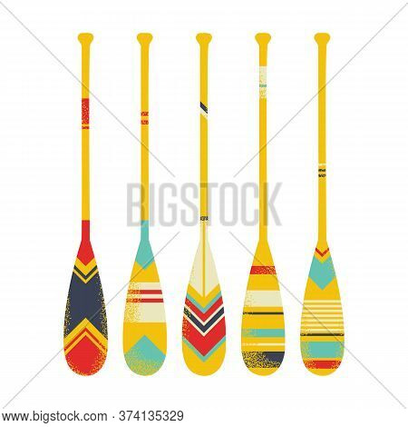 Colorful Bright Set Of Used Canoe Paddles . Scuffed Oars. Vector Illustration Isolated On White.
