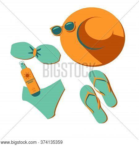 Top View, Set Of Beach Items, Elements, Wear. Hat, Sunglasses, Bikini, Flip-flop, Sunscreen. Summer