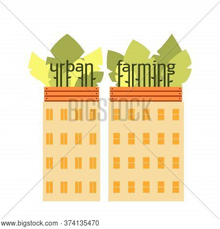 Houses With Roof Gardens. Lettering Urban Farming . Boxes With Plants On Roofs. Urban Agriculture, G