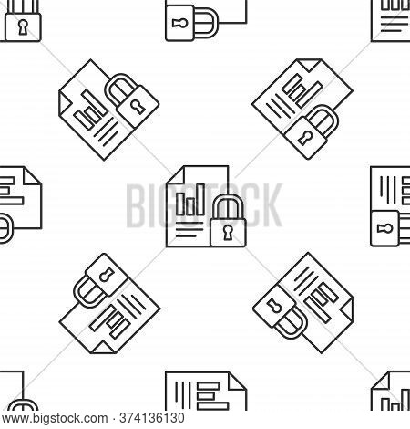 Grey Line Document And Lock Icon Isolated Seamless Pattern On White Background. File Format And Padl