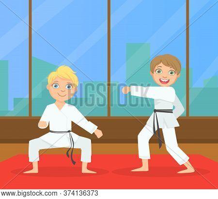 Boys Asian Martial Art Fighters, Cute Children Athletes Practicing Karate Technique, Kids Wearing Ki