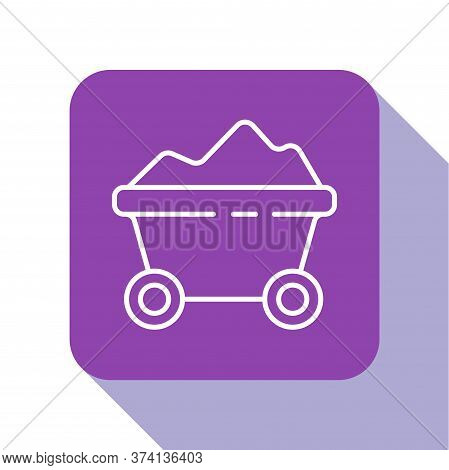 White Line Coal Mine Trolley Icon Isolated On White Background. Factory Coal Mine Trolley. Purple Sq
