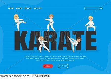 Karate Landing Page Template, Cute Boys And Girls Practicing Asian Martial Arts Web Banner Cartoon V