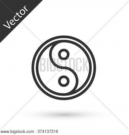 Grey Line Yin Yang Symbol Of Harmony And Balance Icon Isolated On White Background. Vector Illustrat