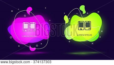 Line The Commandments Icon Isolated On Black Background. Gods Law Concept. Abstract Banner With Liqu