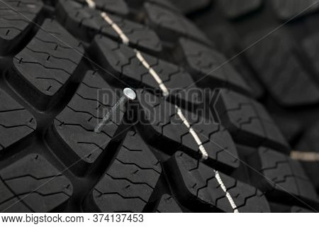 Close Up Picture Of Black New Car Tyre