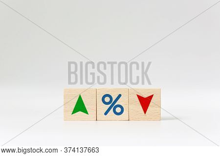 Interest Rate Financial And Mortgage Rates Concept. Wooden Cube Block With Icon Percentage Symbol An