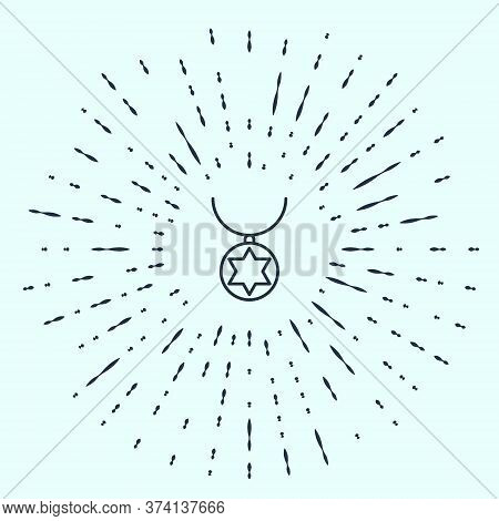 Black Line Star Of David Necklace On Chain Icon Isolated On Grey Background. Jewish Religion. Symbol