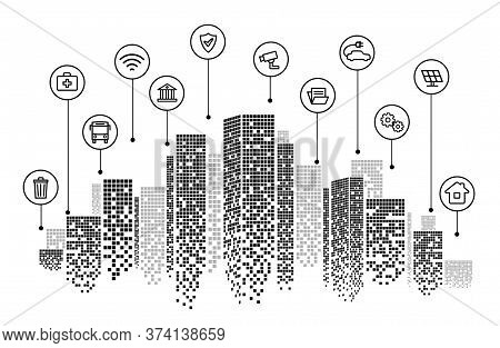 City Skyline Background With Skyscrapers, Vector Illustration In Bw Style Design With Infographic Ic