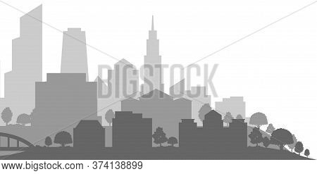 Grey Skyline Of Present-day City With Residential Houses And Office Buildings On White Background, V