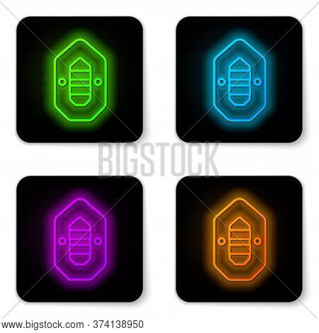 Glowing Neon Line Rafting Boat Icon Isolated On White Background. Inflatable Boat. Water Sports, Ext