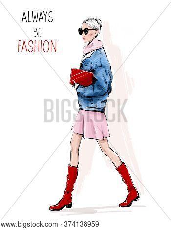 Hand Drawn Beautiful Young Woman In Sunglasses. Fashion Woman Walking. Fashion Girl In Red Shoes. Be