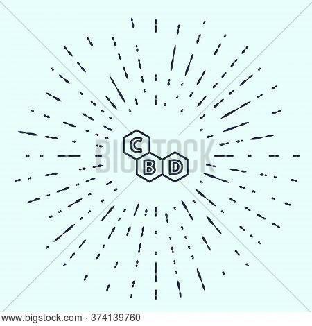 Black Line Cannabis Molecule Icon Isolated On Grey Background. Cannabidiol Molecular Structures, Thc