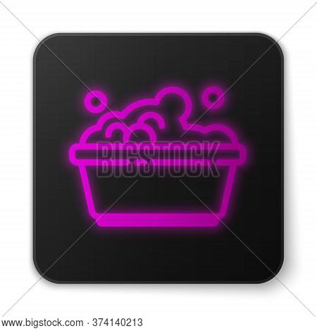 Glowing Neon Line Plastic Basin With Soap Suds Icon Isolated On White Background. Bowl With Water. W