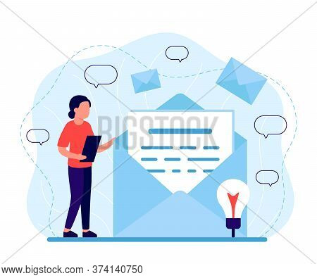 Woman Reads Mail, Letter, News. Incoming And Outgoing Letter, Message. Email, Notification, Message,