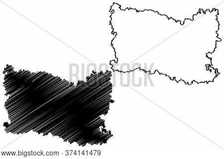 Oise Department (france, French Republic, Hauts-de-france Region) Map Vector Illustration, Scribble