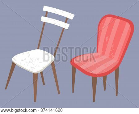 Furniture For Home Vector, Isolated Armchair Designed In Vintage Style And Standard Chair Made Of Wo