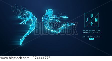 Abstract Silhouette Of A Wireframe Jumping Man And Woman. People In A Jump Symbolize Freedom And Lov