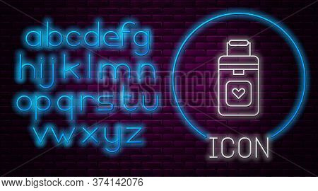 Glowing Neon Line Cooler Box For Human Organs Transportation Icon Isolated On Brick Wall Background.