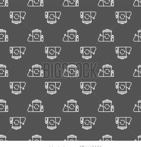 White Line Recycle Bin With Recycle Symbol Icon Isolated Seamless Pattern On Red Background. Trash C