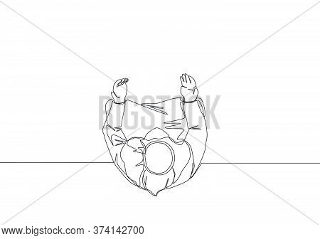 One Continuous Line Drawing Of Muslim Person Raise And Open Hands Praying, From Top View. Islamic Ho