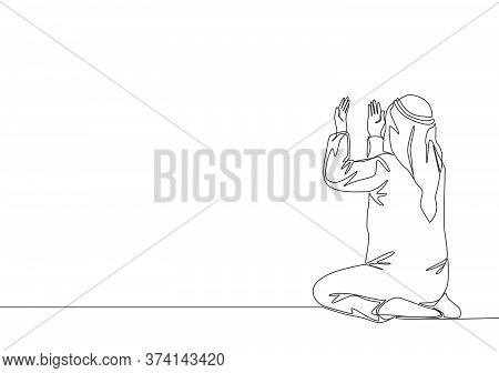 Single Continuous Line Drawing Of Muslim Person Raise And Open Hands Praying, From Rear View. Islami