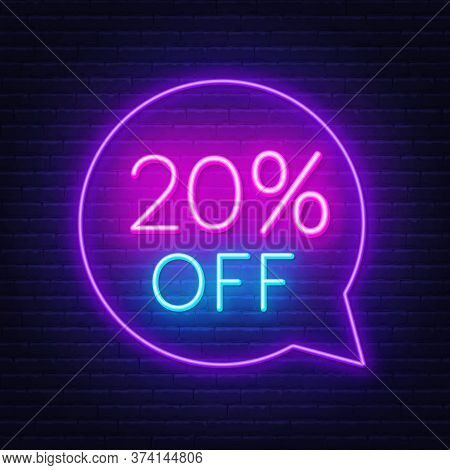 20 Percent Off Neon Sign On A Dark Background.