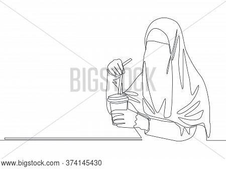 One Single Line Drawing Of Young Pretty Asian Muslimah Wearing Burqa While Drinking Cup Of Coffee. T
