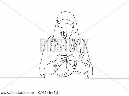 One Single Line Drawing Of Young Attractive Asian Muslimah Wearing Burqa And Holding Rose Flower. Tr