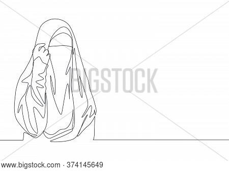 One Single Line Drawing Of Young Happy Attractive Asian Muslimah Wearing Burqa And Pose Nicely. Trad