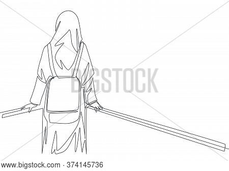 One Single Line Drawing Of Young Beauty Middle East Muslimah Wearing Burqa And Carrying Bag, Back Vi