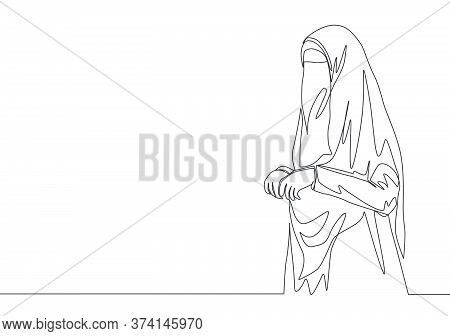 One Single Line Drawing Of Young Beautiful Pretty Middle East Muslimah Wearing Burqa With Veil. Trad