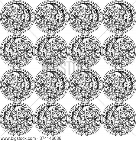 Seamless Pattern Monochrome Hand Drawn Doodle Art Design Element Stock Vector Illustration For Web,