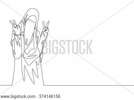 Single Continuous Line Drawing Of Young Cute Saudi Arabian Muslimah Wearing Burqa And Giving Peace G