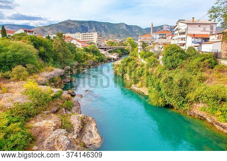 Scenery Of Mostar City In Southern Bosnia And Herzegovina . View Of Lucki Most And Neretva River In