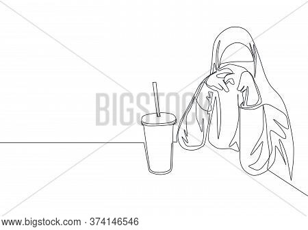 One Continuous Line Drawing Of Young Happy Saudi Arabian Muslimah Wearing Burqa While Sit And Drink