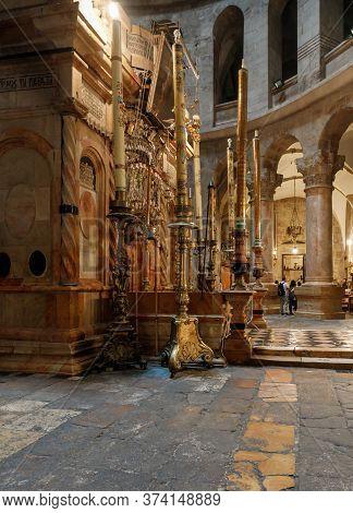 Jerusalem, Israel, June 13, 2020 : Large Decorative Candles In Golden Candlesticks Stand Near Kuvukl