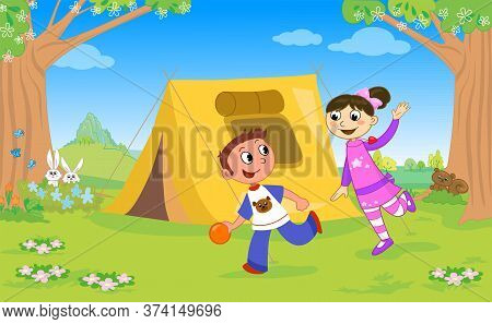 Boy And Girl Playing In A Campsite, Vector Illustration