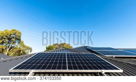 New Solar Panels Installed In Landscape Position On House Roof In South Australia