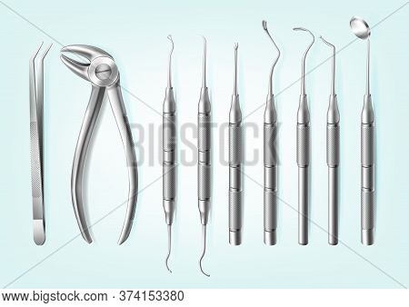 Vector Set Of Realistic Professional Dental Tools Isolated On Blue Background. Stainless Steel Handh