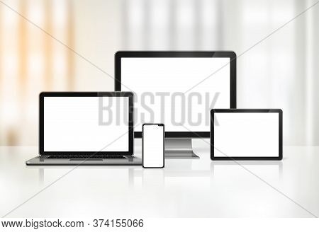 3d Computer, Laptop, Mobile Phone And Digital Tablet Pc - Office Background