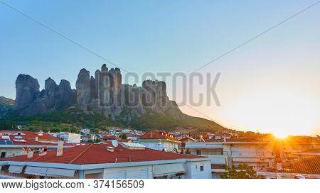 Meteora rocks and Kalabaka town at sunrise, Greece. Greek scenery
