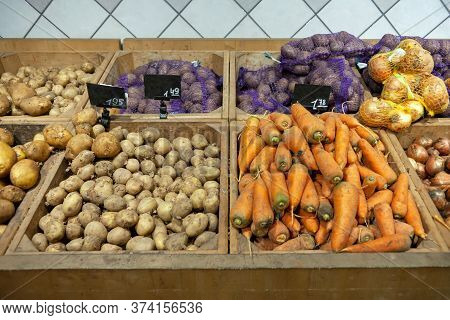 Fresh Organic Vegetables On Shelf In Supermarket, Farmers Market. Healthy Food Concept. Vitamins And