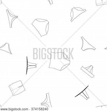 Different Panties For Women. White And Black Vector Illustration. Slip, Tanga, Thong, Pantaloons, St