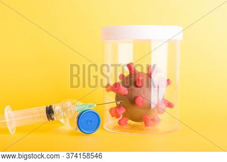 Imprison Prevent Plasticine Disease Cells Virus In Bottle, Vaccine And Syringe For Research In Lab O