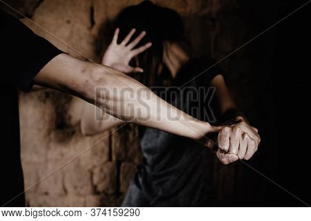 Woman Bondage In Angle Of Abandoned Building Image Blur.