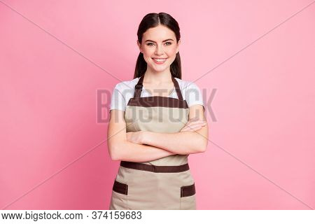 Photo Of Attractive Floral Shop Assistant Lady Gardener Cheerful Mood Hold Hands Crossed Wear Workin